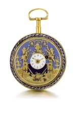 SWISS | A GOLD AND ENAMEL QUARTER REPEATING WATCH WITH DOUBLE WATERFALL AUTOMATA AND JACQUEMARTS  CIRCA 1800
