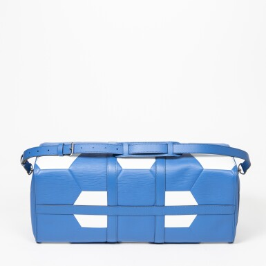 View 6. Thumbnail of Lot 110. Blue and White World Cup 50 Keepall Bandouliere in Apollo Leather with Palladium Brass Hardware, 2018.