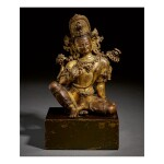 A GILT COPPER FIGURE OF INDRA,  NEPAL, 15TH CENTURY