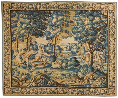 View 1. Thumbnail of Lot 106. A Louis XIV French Hunting Tapestry, Aubusson, late 17th century.