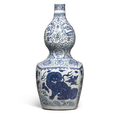View 1. Thumbnail of Lot 84. A large blue and white 'double-gourd' vase, Ming dynasty, Jiajing period | 明嘉靖 青花瑞獸壽字紋大葫蘆瓶.