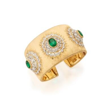 View 1. Thumbnail of Lot 398. Buccellati | Gold, Emerald and Diamond Cuff-Bracelet.