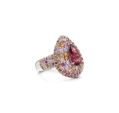 View 2. Thumbnail of Lot 5. PINK TOURMALINE AND COLOURED SAPPHIRE RING.