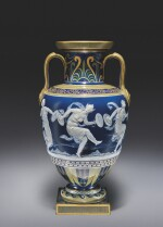 A MINTONS PÂTE-SUR-PÂTE PEACOCK-BLUE-GROUND VASE CIRCA 1885