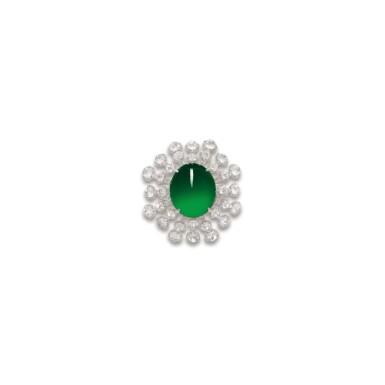View 1. Thumbnail of Lot 1764. JADEITE AND DIAMOND RING  天然翡翠 配 鑽石 戒指.