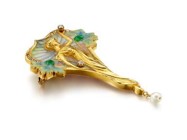 View 2. Thumbnail of Lot 9020. Art Nouveau Enamel, Pearl and Diamond Brooch   新藝術 琺瑯彩 配 珍珠 及 鑽石 胸針.