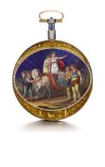BLONNAY | A GOLD AND ENAMEL VERGE WATCH WITH PRESENTATION PLAQUE TO THE MOVEMENT ENGRAVED 'À LA BARONNE D'ARBERG FIDÈLE LECTRICE DE S M L'IMPÉRATRICE JOSEPHINE, NOTRE MÈRE REGRETTÉE QUI RENDIT SON AME A DIEU LE 29 MAI, JOUR DE PENTECÔTE 1814 LA MALMAISON L'AN 1814, HORTENSE-EUGENE'  CIRCA 1814