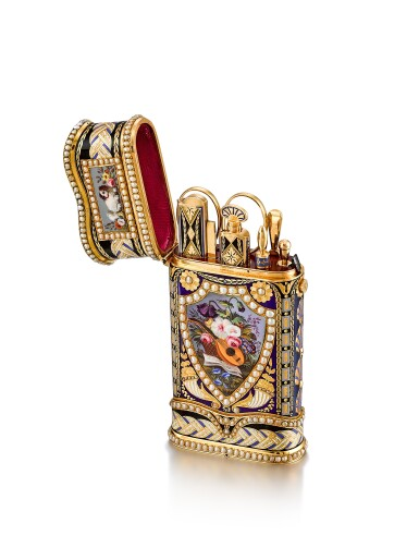 View 1. Thumbnail of Lot 2230. An exceptional and large gold, enamel and pearl-set etui de voyage with watch, music and automaton, including a pair of gold mounted scissors, a gold and enamel knife, a gold and enamel perfume vial, a gold and enamel key, a gold and enamel cuticle stick, a gold and enamel awl and associated fitted presentation box, Made for the Chinese market and retailed by P. Orr, Circa 1800 | 瑞士製 | 知名藏家的永恆典範 | 非常精美及特大金及琺瑯鑲珍珠工具盒,具有時計、音樂及活動人偶,內含鑲金剪刀、金琺瑯小刀、香水瓶、鑰匙、指甲修護棒與錐子,備收納盒,為中國市場而製及由 P. Orr 發行,約1800年製.