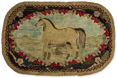 View 1. Thumbnail of Lot 1499.  PICTORIAL HOOKED RUG OF A HORSE IN LANDSCAPE, EARLY 20TH CENTURY.