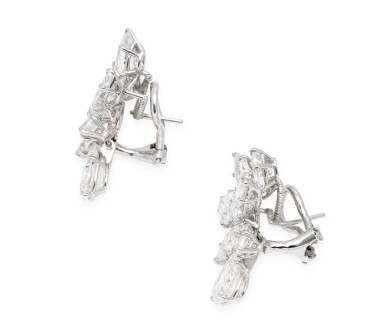 View 2. Thumbnail of Lot 32. HARRY WINSTON | PAIR OF DIAMOND EARCLIPS.
