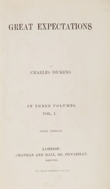Dickens, Great Expectations, 1861, first edition, fifth impression