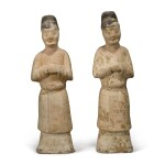 Two painted pottery figures of attendants, Tang dynasty
