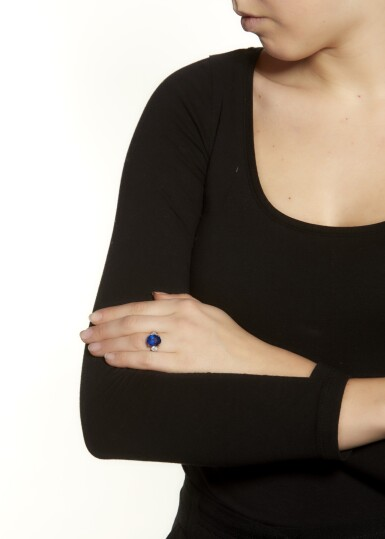 View 4. Thumbnail of Lot 9. SAPPHIRE AND DIAMOND RING.