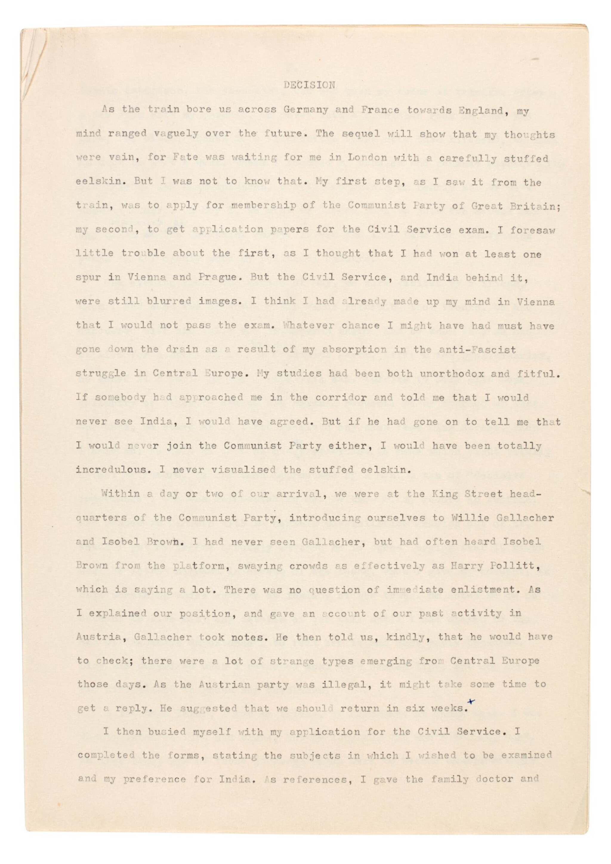 View full screen - View 1 of Lot 65. PHILBY | Corrected typescript memoir of his childhood and early career in the KGB.