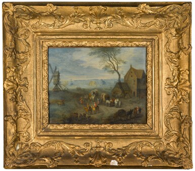View 2. Thumbnail of Lot 327. A village scene with travellers by a windmill.