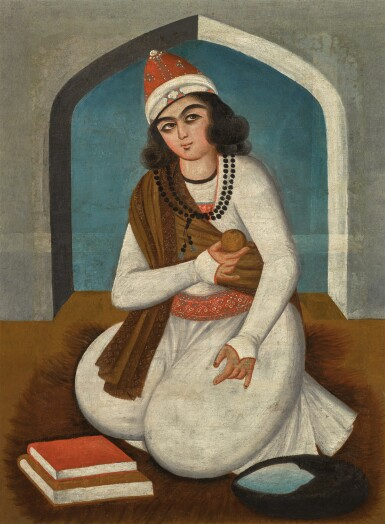 View 1. Thumbnail of Lot 66. A SEATED DERVISH, POSSIBLY NUR 'ALI SHAH, PERSIA, QAJAR, EARLY 19TH CENTURY.
