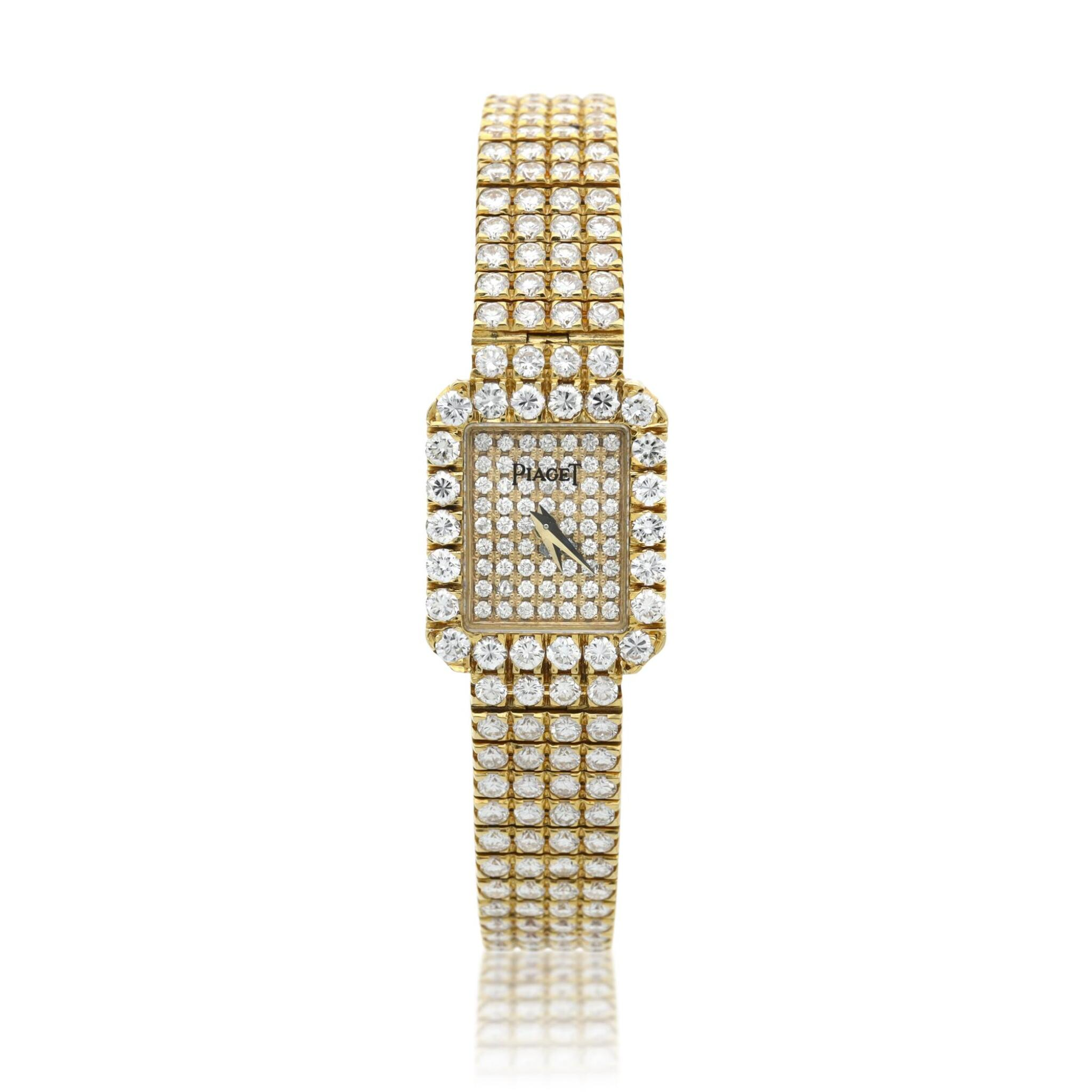 View full screen - View 1 of Lot 29. Reference 15241 C626   A yellow gold and diamond-set bracelet watch, Circa 1990 .