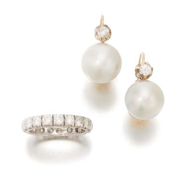 View 2. Thumbnail of Lot 90. PAIR OF CULTURED PEARL AND DIAMOND EARRINGS AND DIAMOND ETERNITY RING   (PAIO DI ORECCHINI CON PERLE COLTIVATE E DIAMANTI E RIVIERA IN DIAMANTI).