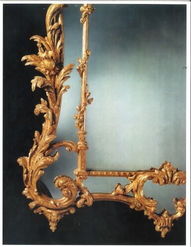 View 4. Thumbnail of Lot 246. A GEORGE III CARVED AND GILTWOOD MIRROR, CIRCA 1765.