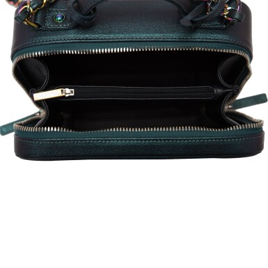 View 8. Thumbnail of Lot 119. Chanel Dark Turquoise Medium Filigree Vanity Case of Grained Metallic Lambskin Leather with Iridescent Hardware.