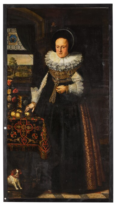 View 4. Thumbnail of Lot 139. Portrait of Johann Jobst Schmidtmaier von Schwarzenbruck (1611-47); Portrait of his wife, Anna Maria (1605-64), both standing, full-length, in interiors with landscapes visible through windows beyond.