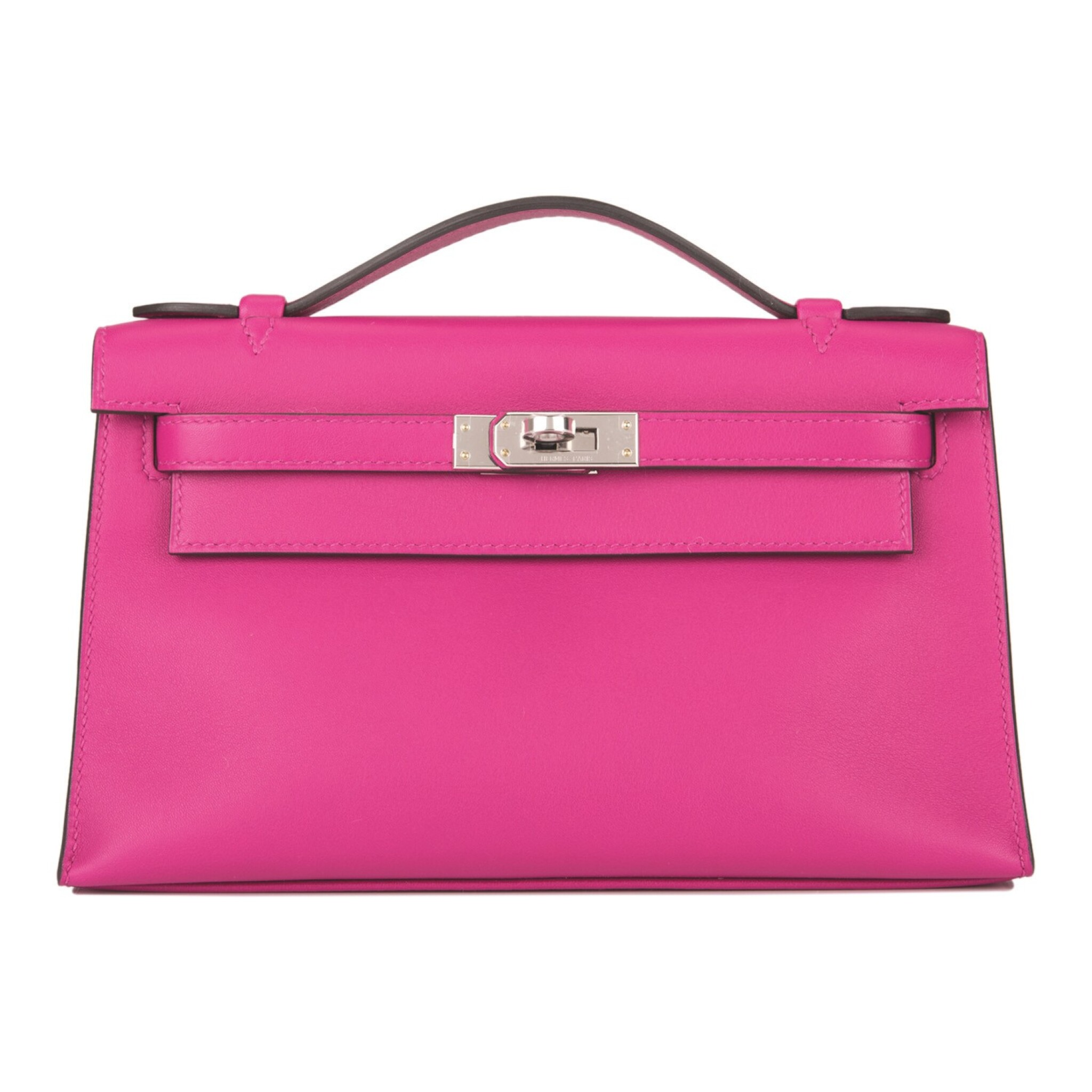 View full screen - View 1 of Lot 16. Hermès Rose Pourpre Mini Kelly Pochette of Swift Leather with Palladium Hardware.