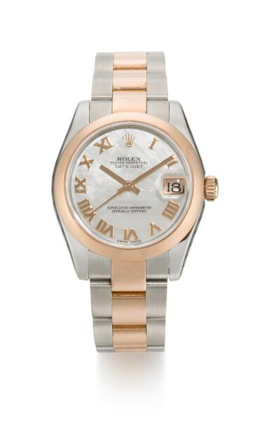 ROLEX | DATEJUST, REFERENCE 178241  STAINLESS STEEL AND PINK GOLD WRISTWATCH WITH MOTHER-OF-PEARL DIAL, DATE AND BRACELET, CIRCA 2014