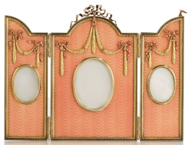 View 1. Thumbnail of Lot 309. A FABERGÉ THREE-COLOUR GOLD-MOUNTED SILVER-GILT AND GUILLOCHÉ ENAMEL TRIPTYCH FRAME, WORKMASTER VICTOR AARNE, ST PETERSBURG, 1899-1903.