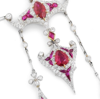 View 5. Thumbnail of Lot 15. Collier rubis et diamants | Ruby and diamond necklace.