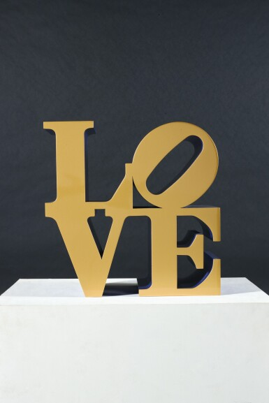 View 2. Thumbnail of Lot 33. ROBERT INDIANA  |  LOVE (GOLD FACES - BLUE SIDES).