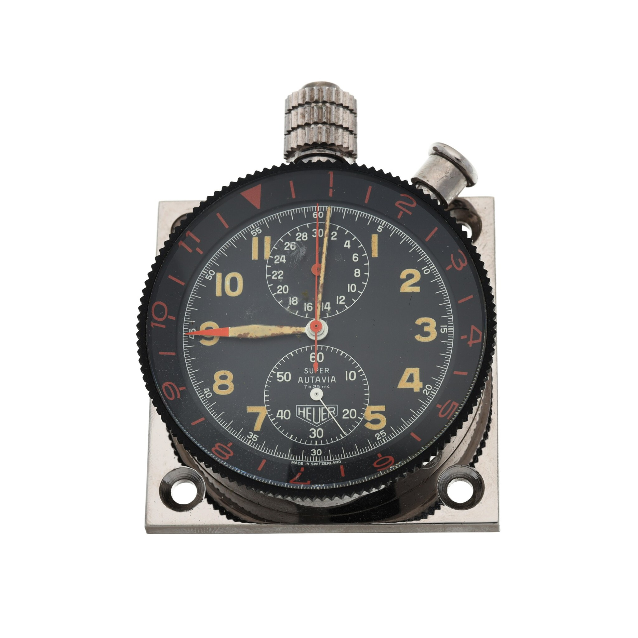 View full screen - View 1 of Lot 4. SUPER AUTAVIA A STAINLESS STEEL DASH-MOUNTED TIMER, CIRCA 1970.