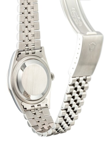 View 3. Thumbnail of Lot 112. ROLEX   DATEJUST, REFERENCE 16234 A STAINLESS STEEL AND DIAMOND-SET WRISTWATCH WITH DATE, SODALITE DIAL AND BRACELET, CIRCA 2002.
