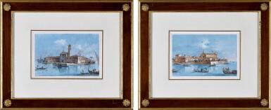 View 2. Thumbnail of Lot 532. GIACOMO GUARDI | Two views of Venice: A) Isola di San Mattia di Murano  B) Isola si San Lazzaro degli Armeni.