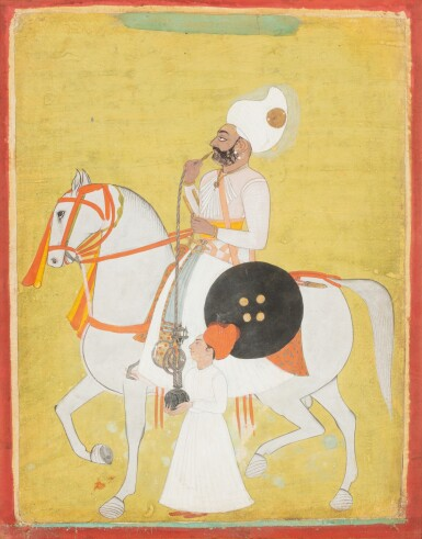 View 1. Thumbnail of Lot 34. INDIA, 19TH CENTURY | FOUR EQUESTRIAN PORTRAITS OF DIGNITARIES .