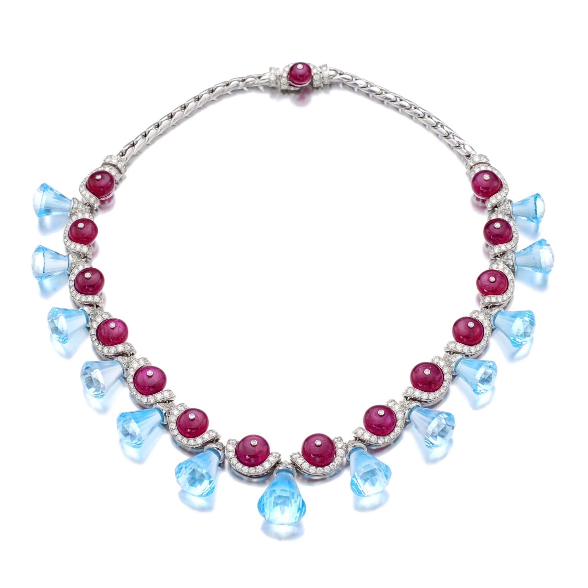 View full screen - View 1 of Lot 35. MICHELE DELLA VALLE | RUBY, BLUE TOPAZ AND DIAMOND NECKLACE.
