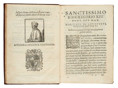 View 1. Thumbnail of Lot 56. Azpilcueta, Commentarius de alienatione, Rome, 1584, contemporary morocco with arms of Cardinal Boncompagni.