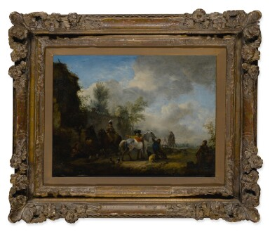 View 2. Thumbnail of Lot 536. PHILIPS WOUWERMAN | A CAVALIER AND A LADY HALTING AT AN INN.