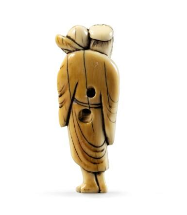 View 3. Thumbnail of Lot 80. An ivory netsuke study of Chokwaro Sennin, Japan, Edo period, 18th century.