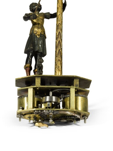 View 5. Thumbnail of Lot 2. A Renaissance gilt, patinated and painted bronze and ebony automaton table clock with stackfreed, German, circa 1600.