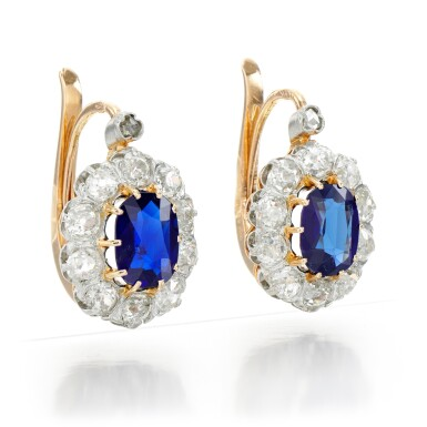 View 2. Thumbnail of Lot 72. PAIR OF SAPPHIRE AND DIAMOND EARRINGS.