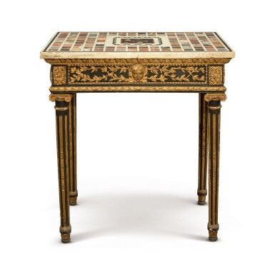 A CONTINENTAL NEOCLASSICAL EBONIZED AND PARCEL-GILT OCCASIONAL TABLE WITH SPECIMEN MARBLE TOP, 19TH CENTURY
