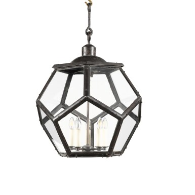 View 1. Thumbnail of Lot 116. A LARGE PATINATED BRASS LANTERN, EARLY 20TH CENTURY, IN THE MANNER OF ADOLF LOOS.