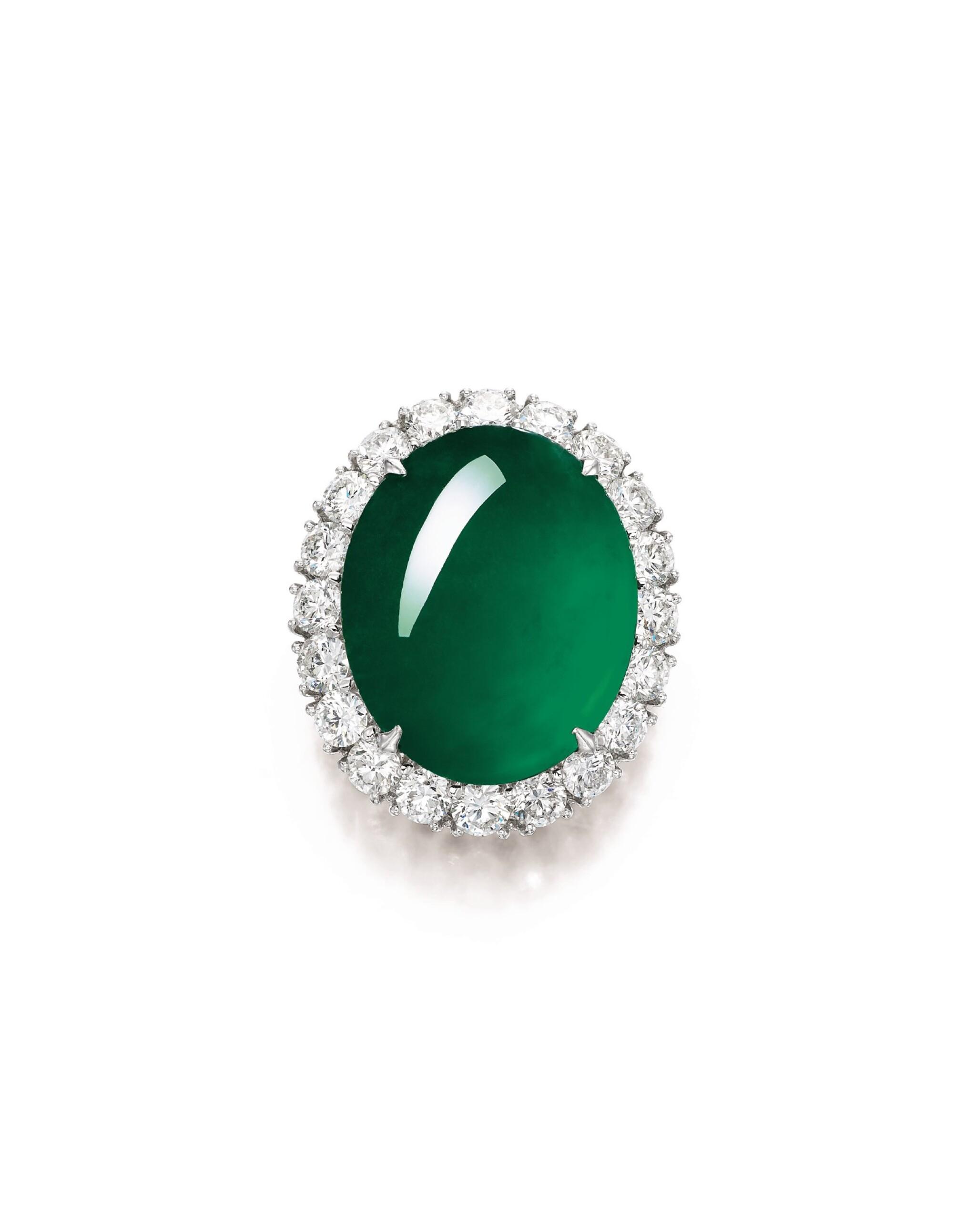 View full screen - View 1 of Lot 1688. Imperial Green Jadeite and Diamond Ring / Pendant | 天然「帝王綠」翡翠 配 鑽石 戒指 / 吊墜.
