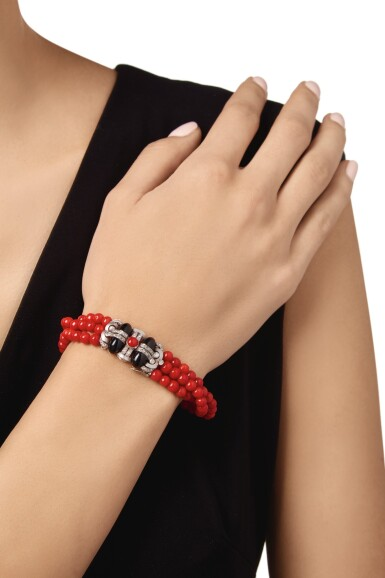 View 2. Thumbnail of Lot 29. CORAL, ONYX AND DIAMOND BRACELET, LACLOCHE FRÈRES.