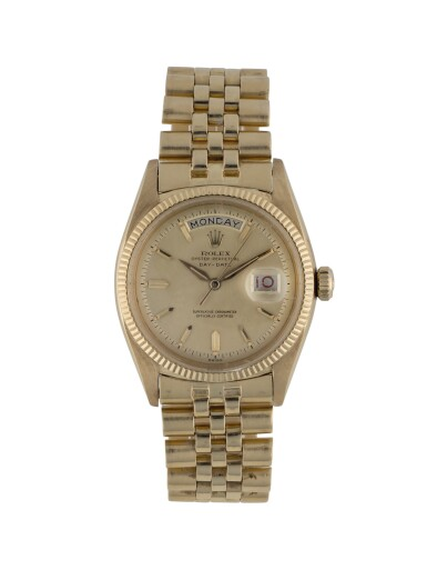 ROLEX | DAY-DATE, REF 6611B YELLOW GOLD WRISTWATCH WITH DAY, DATE AND BRACELET CIRCA 1958