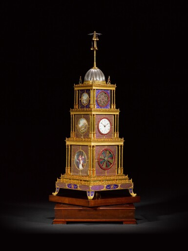 View 1. Thumbnail of Lot 16. John Mottram. A George III gilt-brass and enamel musical automaton clock for the Chinese market, London, circa 1790.
