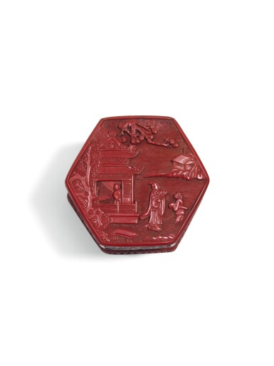 View 2. Thumbnail of Lot 141. A CARVED CINNABAR LACQUER TIERED BOX AND COVER MING DYANSTY, 16TH CENTURY | 明十六世紀 剔紅庭院高士圖四層六方蓋盒.