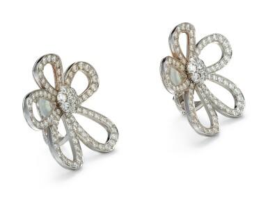 View 2. Thumbnail of Lot 9102. PAIR OF DIAMOND EAR CLIPS, VAN CLEEF & ARPELS   鑽石耳環一對, 梵克雅寶(Van Cleef & Arpels).