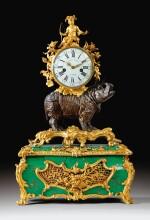 A GILT-BRONZE MOUNTED PATINATED BRONZE RHINOCEROS 'CORNE VERTE' MUSICAL TABLE CLOCK, LOUIS XV, BY JEAN-JOSEPH DE SAINT-GERMAIN, CIRCA, 1750 | PENDULE À MUSIQUE AU RHINOCÉROS EN BRONZE PATINÉ, DORÉ ET CORNE VERTE D'ÉPOQUE LOUIS XV, VERS 1750, PAR JEAN-JOSEPH DE SAINT-GERMAIN