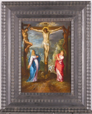 View 2. Thumbnail of Lot 56. NETHERLANDISH FOLLOWER OF ADAM ELSHEIMER, CIRCA 1620 | The Crucifixion with Saints Mary and John.